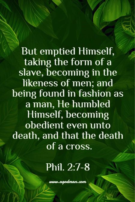 Phil. 2:7-8 But emptied Himself, taking the form of a slave, becoming in the likeness of men; and being found in fashion as a man, He humbled Himself, becoming obedient even unto death, and that the death of a cross.