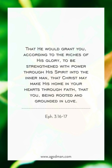 Eph. 3:16-17 That He would grant you, according to the riches of His glory, to be strengthened with power through His Spirit into the inner man, that Christ may make His home in your hearts through faith, that you, being rooted and grounded in love.