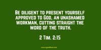 2 Tim. 2:15 Be diligent to present yourself approved to God, an unashamed workman, cutting straight the word of the truth.