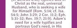 The third step of God's procedure in fulfilling His purpose was to work Himself into man to make man His complement. Adam here [in Genesis 2:18] typifies God in Christ as the real, universal Husband, who is seeking a wife for Himself (Rom. 5:14; cf. Isa. 54:5; John 3:29; 2 Cor. 11:2; Eph. 5:31-32; Rev. 19:7; 21:9). Adam's need for a wife typifies and portrays God's need, in His economy, to have a wife as His complement. Gen. 2:18, footnote 1, RcV Bible
