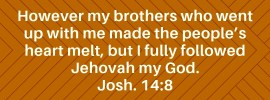 Josh. 14:8 However my brothers who went up with me made the people's heart melt, but I fully followed Jehovah my God.