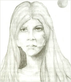 Artistic representation from Eyewitness testimony of Asket, the extraterrestrial human woman