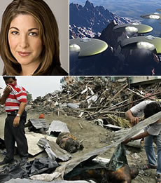 Montreal-born Naomi Klein (left), depiction of UFOs (right), and tsunami devastation in Indonesia (bottom)