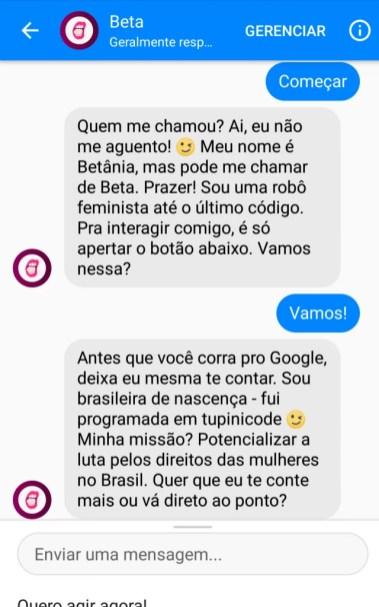 chatbot Beta a robô feminista