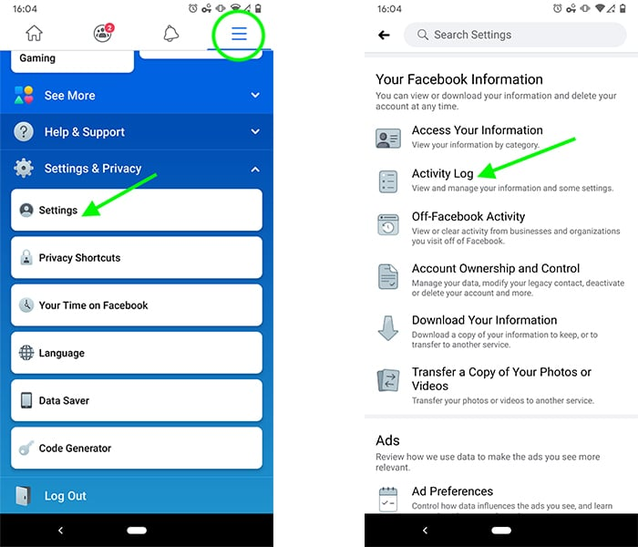 how to unhide a Facebook post on mobile - step 2a