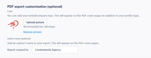 Optional PDF export customization
