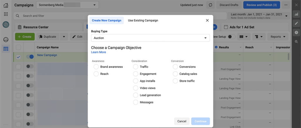 Facebook Ads campaign objectives