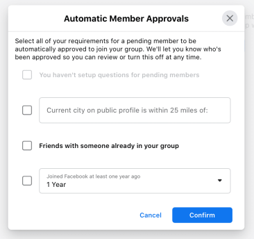 automatic member approvals for facebook groups