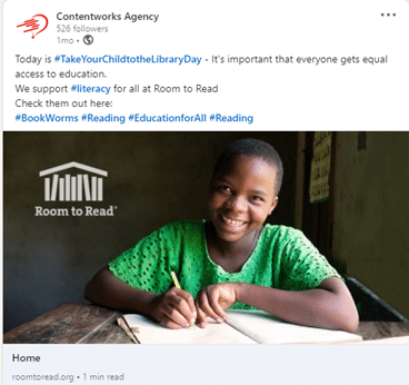 social responsibility example of what to post on linkedin