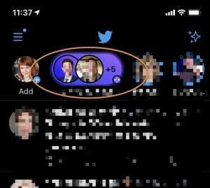 purple circle signifying active twitter space