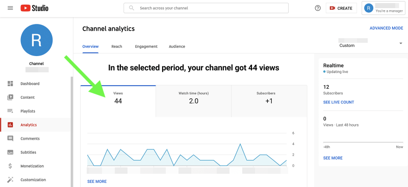 YouTube metrics - channel views