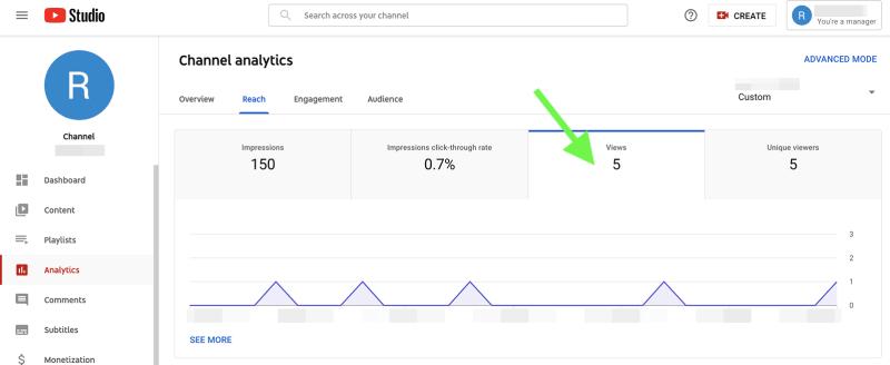 YouTube metrics - video views