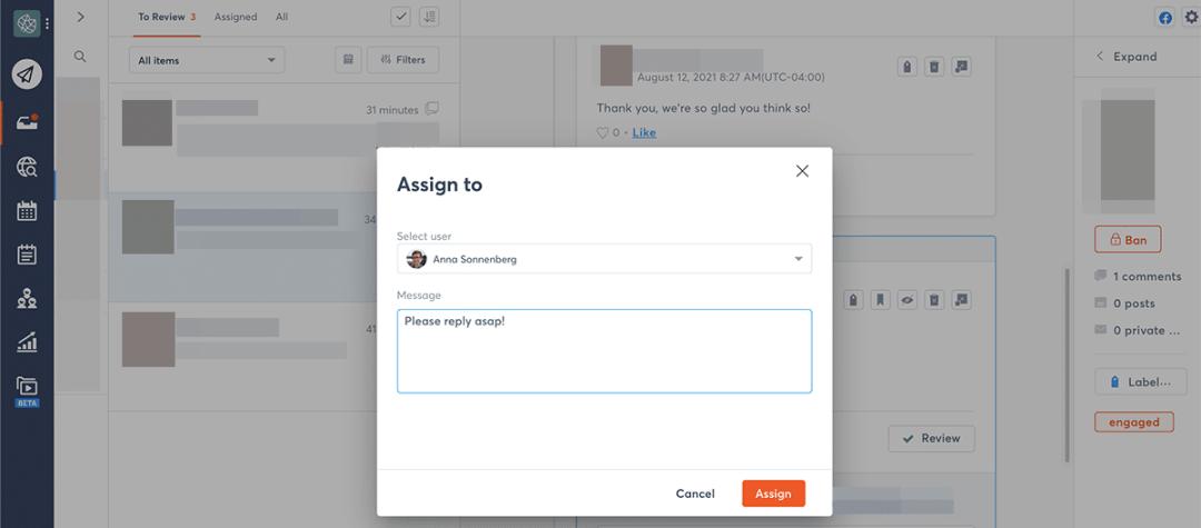 Agorapulse social inbox moderation