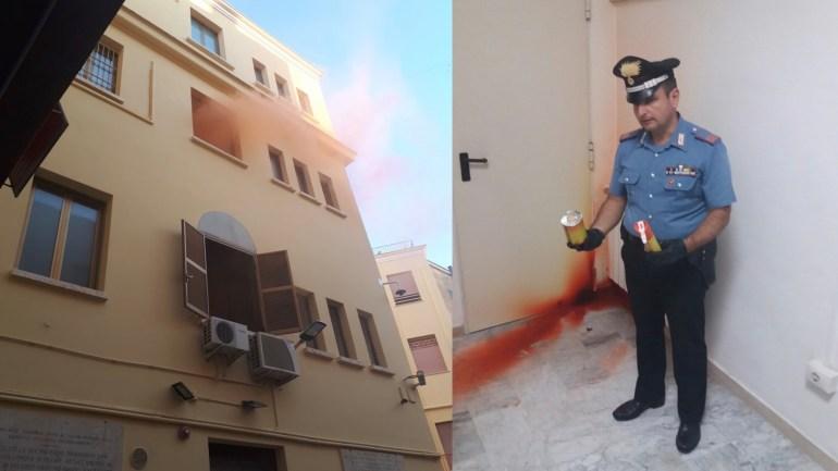 Latina. Fumogeni contro il Comando dei Carabinieri