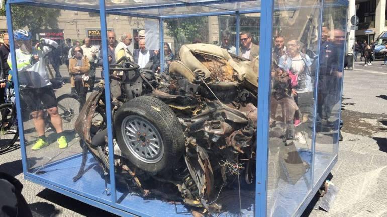 A Roma la teca dell'auto della scorta di Falcone