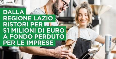Regione Lazio. 51mln a fondo perduto imprese, 1,5 mln per gli ambulanti