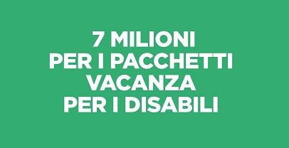 Regione Lazio, per il sociale 7 mln di euro pacchetti vacanza disabili