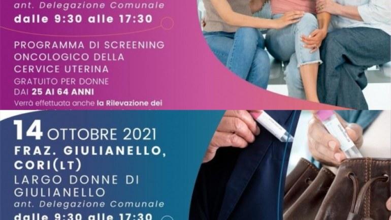 Screening oncologici gratuiti giovedì 14 ottobre a Giulianello. Tutte le info