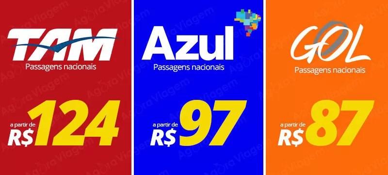 Promoção de passagens nacionais a partir de R$ 87
