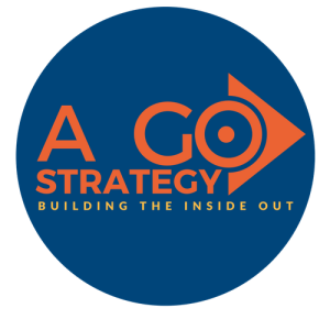 expert digital marketing consultant, A Go Strategy - Building the Inside Out logo contained by a blue circle 500 X 500 png high resolution file transparent background