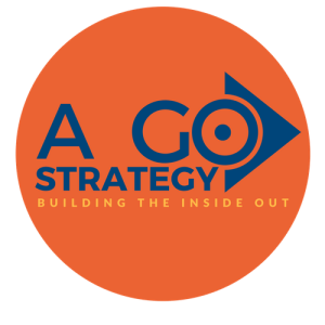 expert digital marketing consultant, A Go Strategy - Building the Inside Out logo contained by an orange circle 500 X 500 png high resolution file transparent background