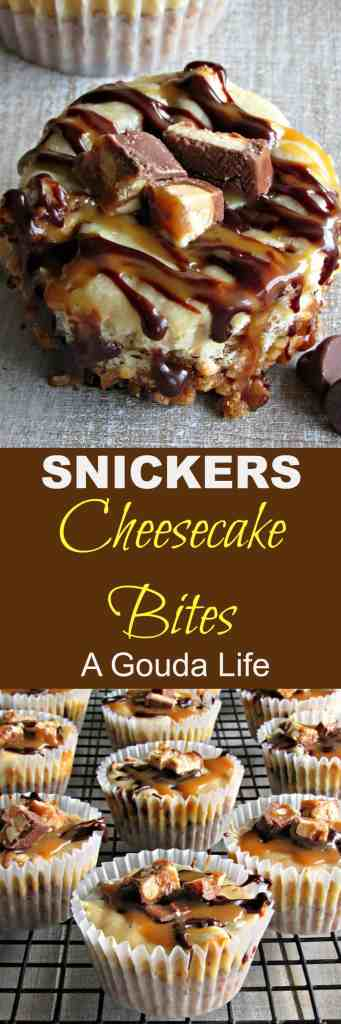 Snickers Cheesecake Bites ~ easy decadent 1-2 bite sweet-salty dessert. Pretzel crust topped with creamy cheesecake, chocolate ganache and caramel.