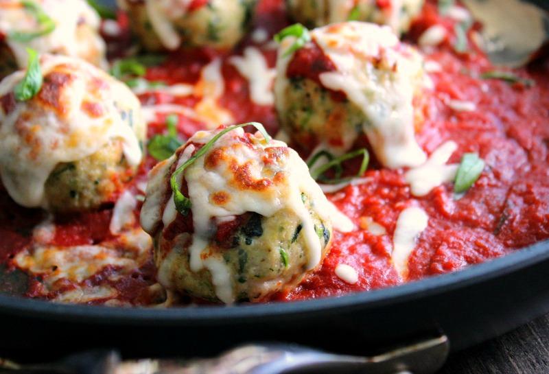 Chicken Parmesan Meatballs in skillet