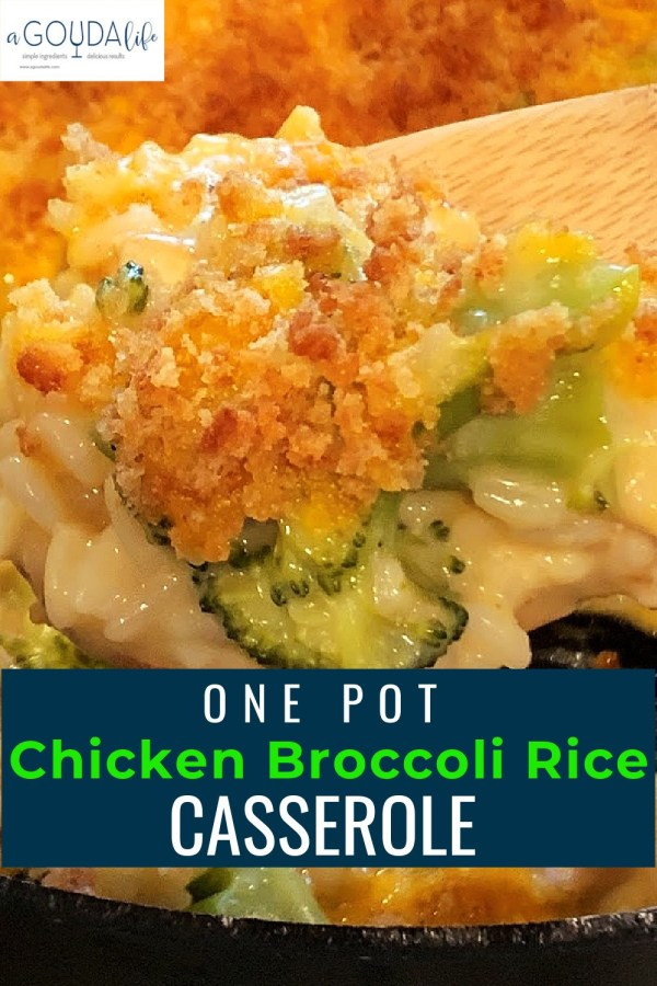 pinterest pin with closup of bits of chicken broccoli rice and Ritz cracker topping
