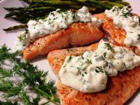 cucumber dill salmon ~ pan seared salmon topped with a creamy cucumber dill sauce.