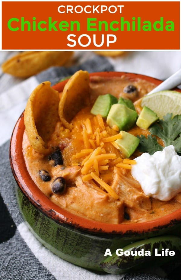 pin for pinterest shows bowl of soup topped with cheese, avocado cubes and sour cream