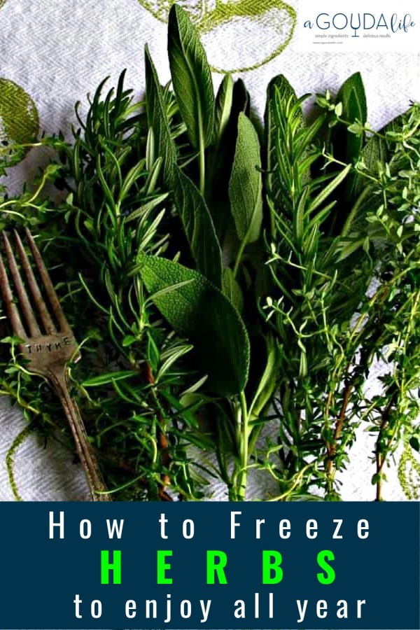 pinterest pin showing fresh sprigs of rosemary, sage and thyme on white dish towel