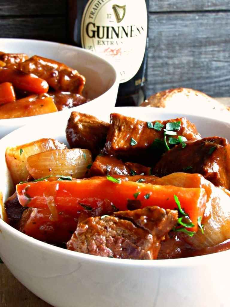 Irish Guinness Beef Stew: chunks of tender, searedbeef, potatoes, onions andcarrots in a thick, stew made more robust with the addition ofGuinness beer.