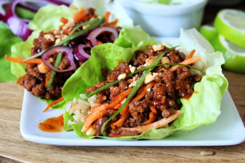 lettuce leaves loaded with korean spiced ground beef