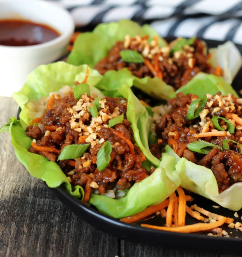 lettuce leaves filled with Korean ground beef