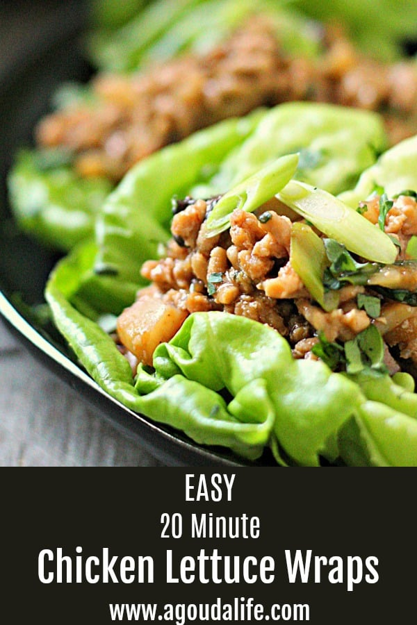 pinterest pin showing chicken lettuce wraps on black plate