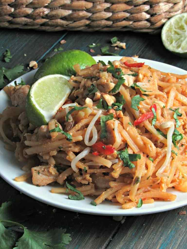 Easy Chicken Pad Thai: delicious spicy authentic flavor made in 1 pot with simple ingredients. Little chopping, great weeknight or entertaining meal.