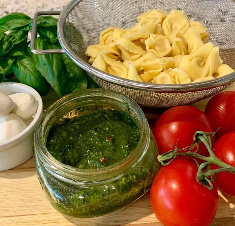 ingredients for pesto tortellini salad