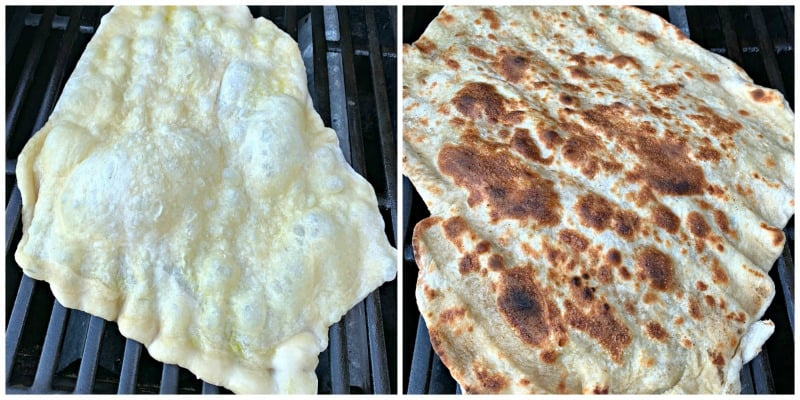 collage showing pizza dough on the grill before and after grill marks