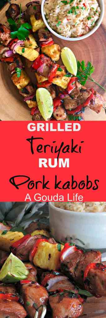 Grilled Teriyaki Rum Pork Kabobs: teriyaki-rum-citrus marinated pork is skewered with fresh pineapple, red onions and peppers and grilled.
