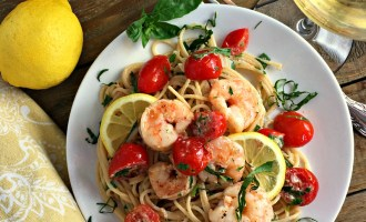 Light, lemony creamy shrimp past with NO heavy cream. Perfect summer dish.