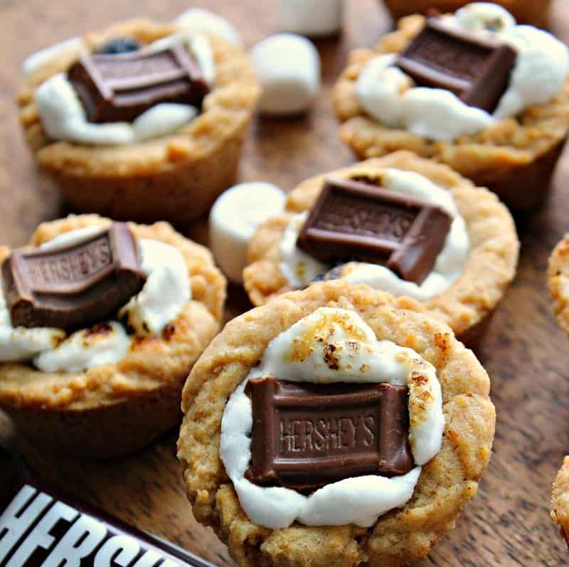 golden graham cracker cups filled with toasted marshmallow and a piece of hersheys chocolate