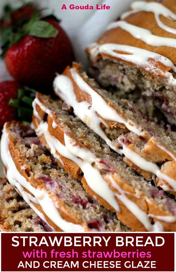 pinterest pin showing sliced bread garnished with fresh berries