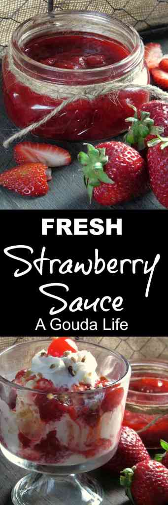 Homemade Strawberry Sauce: easy homemade sauce made with fresh strawberries + just a few other ingredients. Use over ice cream, waffles or cheesecake.