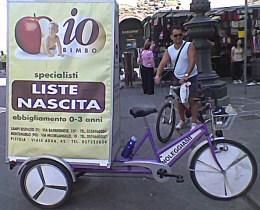 Annalisa la bici che avvisa pubblicità Io Bimbo