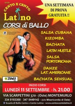 Scuola di ballo Cento x Cento Latino volantino a5 fronte
