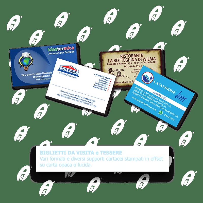 Biglietti da visita e tessere di vari formati e supporti di stampa