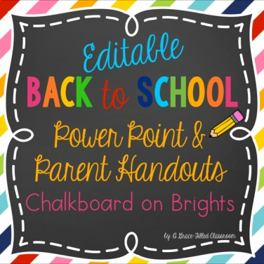 Back to School Night was taken care of easily with this editable power point and handouts.