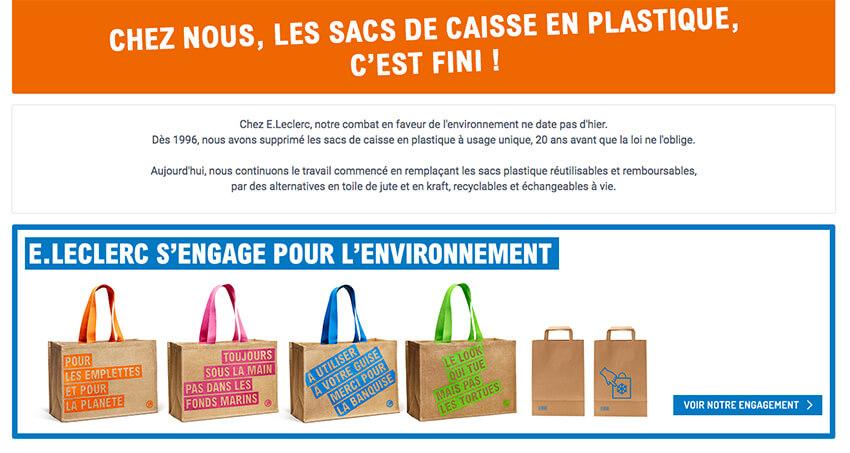 Leclerc in Francia elimina le buste di plastica riutilizzabili e le sostituisce con la juta