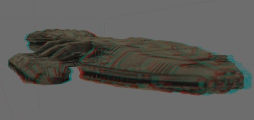 The recent textured Galactica mesh in 3D.