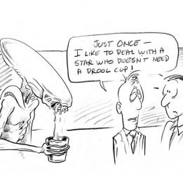 Cartoon by Laine Liska during production of Alien3.